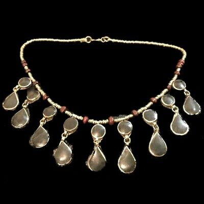 Rare Ancient Black Stone Pendant Necklace  300 B.c 18 Stones! (8)