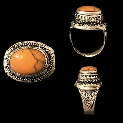 Stunning Top Quality Post Medieval Silver Ring With A Orange Stone (10)