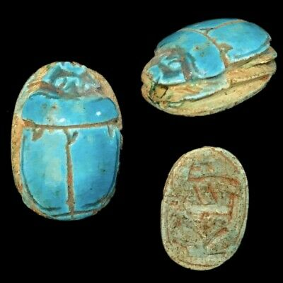 Beautiful Ancient Egyptian Blue Glazed Scarab 300 Bc (9)
