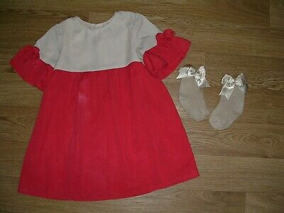 ZARA Girls Red Beige Colour Black Frill Sleeves Dress Age 3-4 104cm