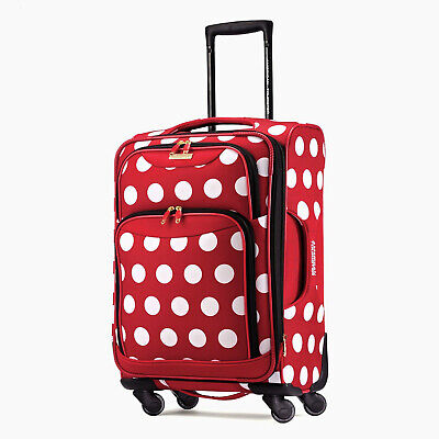 NEW American Tourister Disney Minnie Mouse Polka Dot Softside Spinner 21""