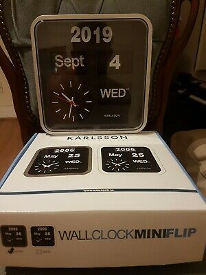 Karlsson Retro Style Mini Flip Wall  Clock  With .Day Date Year .Silver