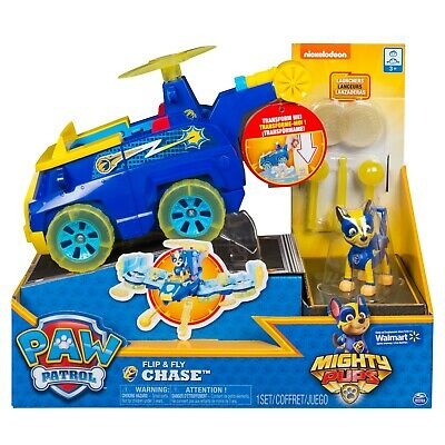 Paw Patrol Mighty Pups Flip & Fly Vehicle - CHASE - Brand New