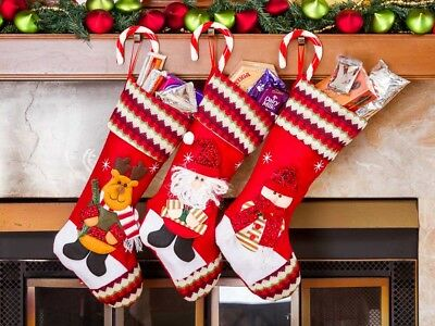 Christmas Stockings Set with Santa & Friends - 3 Pack