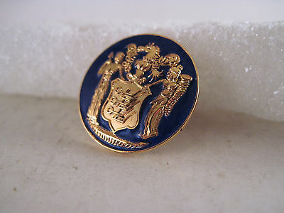New Jersey  State Seal cloisonne logo tie tack   (7my22  96)
