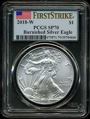 2018-W $1 Burnished Silver American Eagle SP70 PCGS 35784666 First Strike