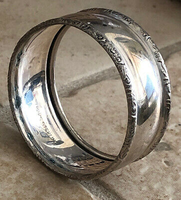 Birks Sterling Silver Napkin Ring Floral Rim Polished Plain Design