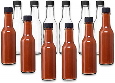 24 Pack Hot Sauce Woozy Bottles 5 Oz with Black Caps and Incerts Clear Glass ...