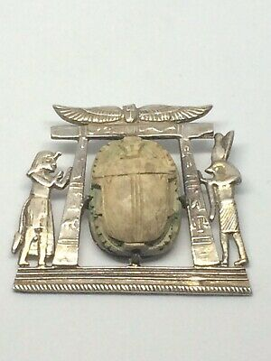 Old Egyptian Faience Scarab Beetle Mounted In A Tombed Themed Silver Frame