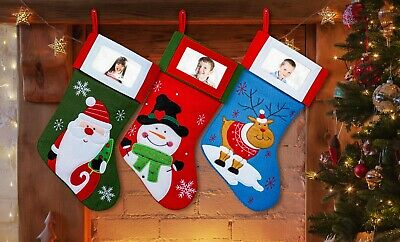 "3 Pack Christmas Stockings Set W Photo Frame 18"" Colorful Santa Snowman Reindeer"