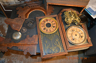 Lot 1) Ansonia Kitchen Clock Movement & Parts * Bell, Gong, 2 Glass Doors, Faces