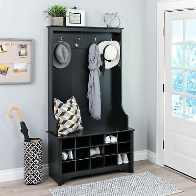 Wondrous Prepac Wide Hall Tree With Shoe Storage In Drifted Gray Evergreenethics Interior Chair Design Evergreenethicsorg