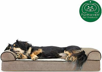 Furhaven Pet Dog Bed Orthopedic Sofa-Style Traditional Living Room Couch Pet Bed