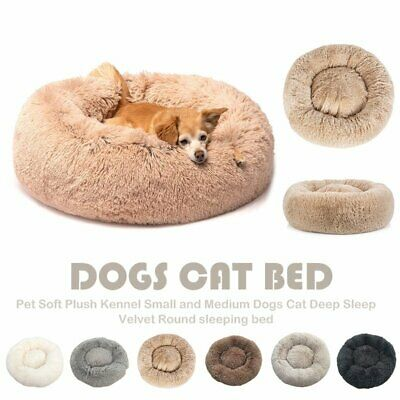 Pet Dog Cat Calming Bed Round Nest Warm Soft Plush Sleeping Bag Comfy Flufy S-XL