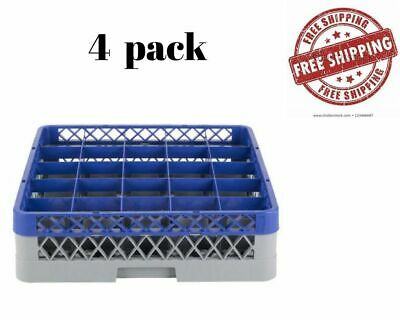 4 PACK Commercial Glass Rack Full Size 25 Compartment Blue Extender Storing