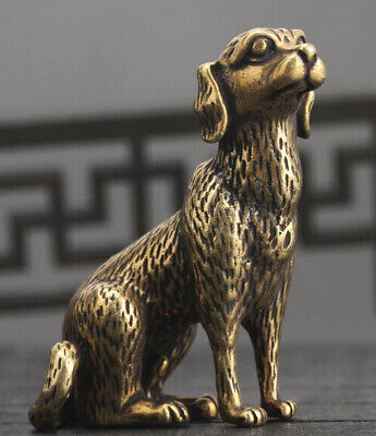 Chinese old Antique Collectible Bronze Zodiac Dog fengshui Exquisite statue