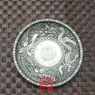 CHINEA FOLK old Carved Tibetan silver plate One dollar dragon coin coin ornament