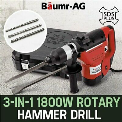 NEW 1800W 3-in-1 Baumr-AG Demolition Rotary Jackhammer SDS Plus Hammer Drill