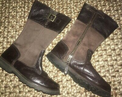 Junior Girls Childrens Timberland Classic Tall Zip Up Brown Leather Boots A14N4