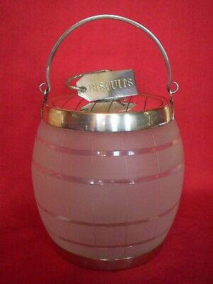 Stunning Antique Silver Plated & Frosted Glass Biscuit Barrel