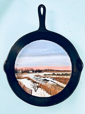 """Hand Painted BSR """"Red Mountain"""" #8 Cast Iron Skillet, Winter Sea Shore, Signed"""