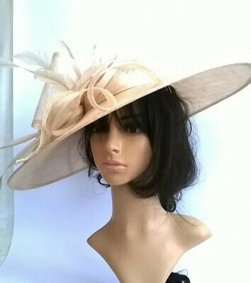 Champagne Statement Hatinator..Large with bow & loops Wedding.races.,ascot