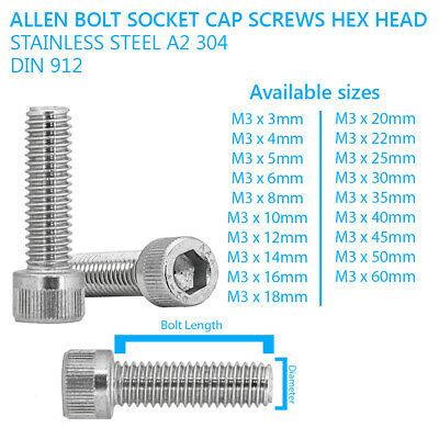M3 - 3mm ALLEN CAP SCREWS SOCKET SCREW BOLTS STAINLESS STEEL A2 70 DIN 912