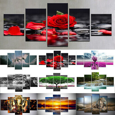 5Pcs Set Unframed Modern Art Oil Canvas Painting Picture Print Home Wall Decor