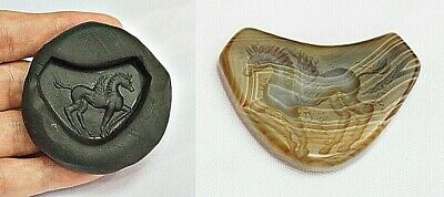 Gorgeous Banded!! Antique Agate Bow Top Banded Intaglio Pegasus Bead Pendant
