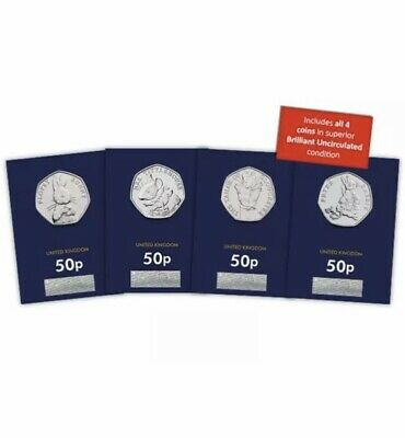 2018 50p Beatrix Potter Complete Fifty Pence Set x 4 Brilliant Uncirculated BUNC
