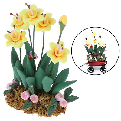 1Pc 1:12 Dollhouse Miniature Garden Ornament Green Plant Flower Garden Access AR