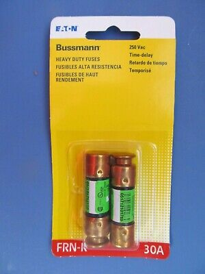Bussmann FRN-R-30 30Amp 250V Dual Element Time-Delay Fuses.  Package of 2   NEW