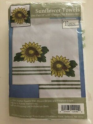 """NWT Tobin Set of 2 Sunflower Embroidery Stamped 18"""" x 28"""" Cotton Kitchen Towels"""