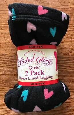 Girl's FADED GLORY 2 Pair Leggings Fleece Lined 1 Black 1 Patterned S(4-6X) New