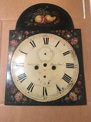 Beautiful Antique Grandfather Clock Dial Fruit & Flower Decor T Snow Bradford