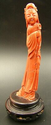 Wonderful & Antique Chinese Red Coral Hand Carved Quan Yin Maiden Figure