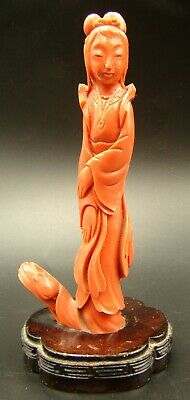 Antique Chinese Red Coral Hand Carved Quan Yin Figure with Lotus Flower