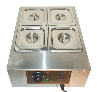110V Chocolate Melter 4-Well Bain Marie Food Heating Melting Catering Tool New