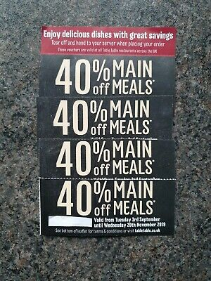 Table table restaurant 40% off main meals vouchers x 4