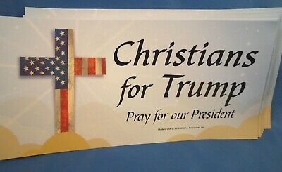 WHOLESALE LOT OF 8 CHRISTIANS FOR TRUMP MAGNET 2020 PATRIOTIC CROSS USA  sticker