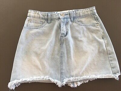 Teen Girls COTTON ON Light Blue Denim Skirt Size 14 Faded Mini Distressed Frayed