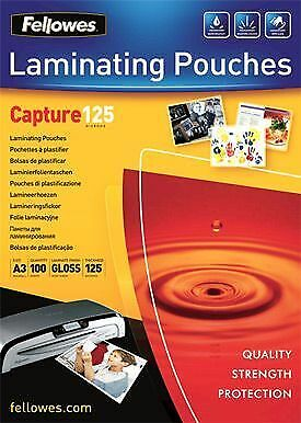 NEW! Fellowes 53075 A3 125Mic Pouch 100pk