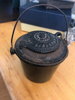 """Antique Cast Iron Hide Glue Pot """"The Home"""" with SWASTIKA Good Luck Symbol"""