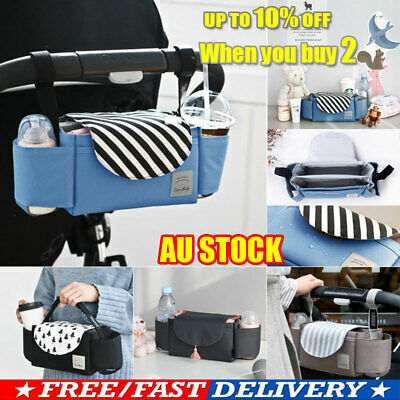 NEW Universal Buggy Baby Pram Organizer Bottle Holder Stroller Caddy Storage Bag