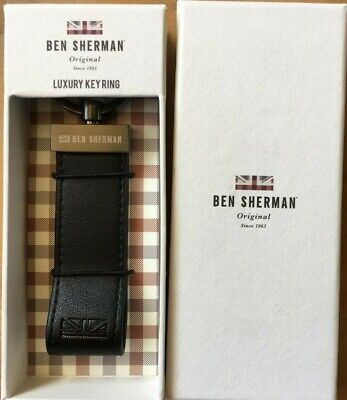 Ben Sherman Genuine Luxury Leather Keyring Boxed Mens Boys Fathers Day Gift