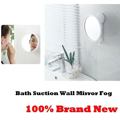 Bathroom Suction Wall Mirror Fog Shower Shave Make-up Shatterproof White Gifts