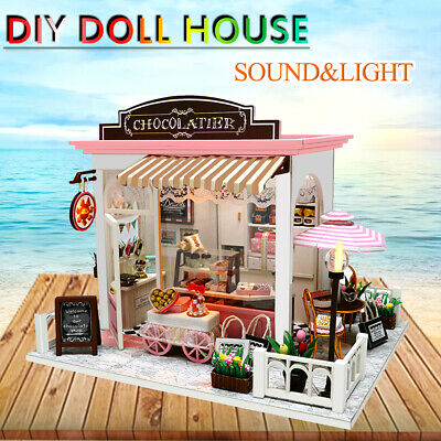 DIY Wooden Toy Miniature Doll House Kit Chocolate Shop LED Light Dollhouse Gifts