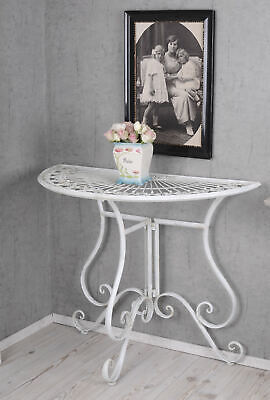 Console Table Shabby Chic Console White Wall Table Metal Table Semi-circular