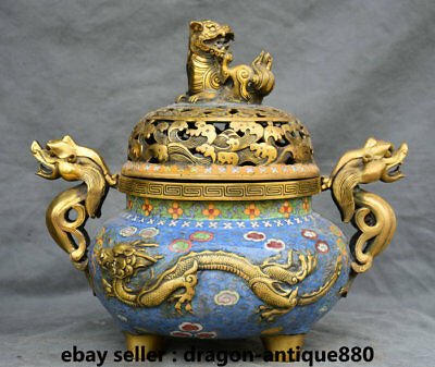 "14"" Old China cloisonne Copper Dynasty Dragon Lion Handle incense burner Censer"