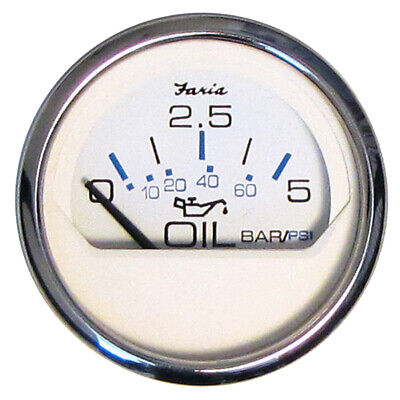 "Faria 2"" Oil Pressure Gauge 5 Bar Metric - Chesapeake White - Stainless Steel..."